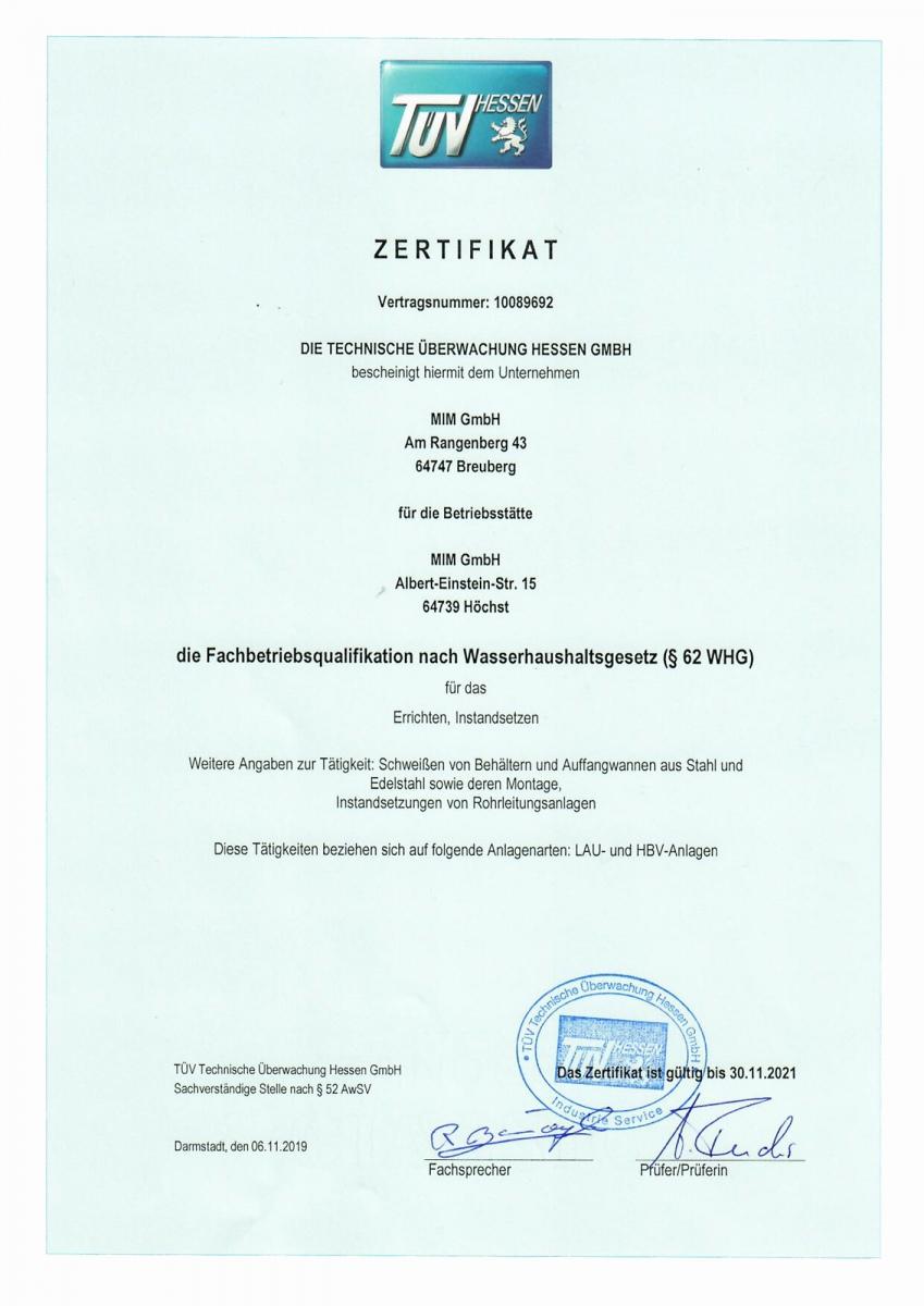 Zertifikat-Neu-Wasserhaushaltsgesetz