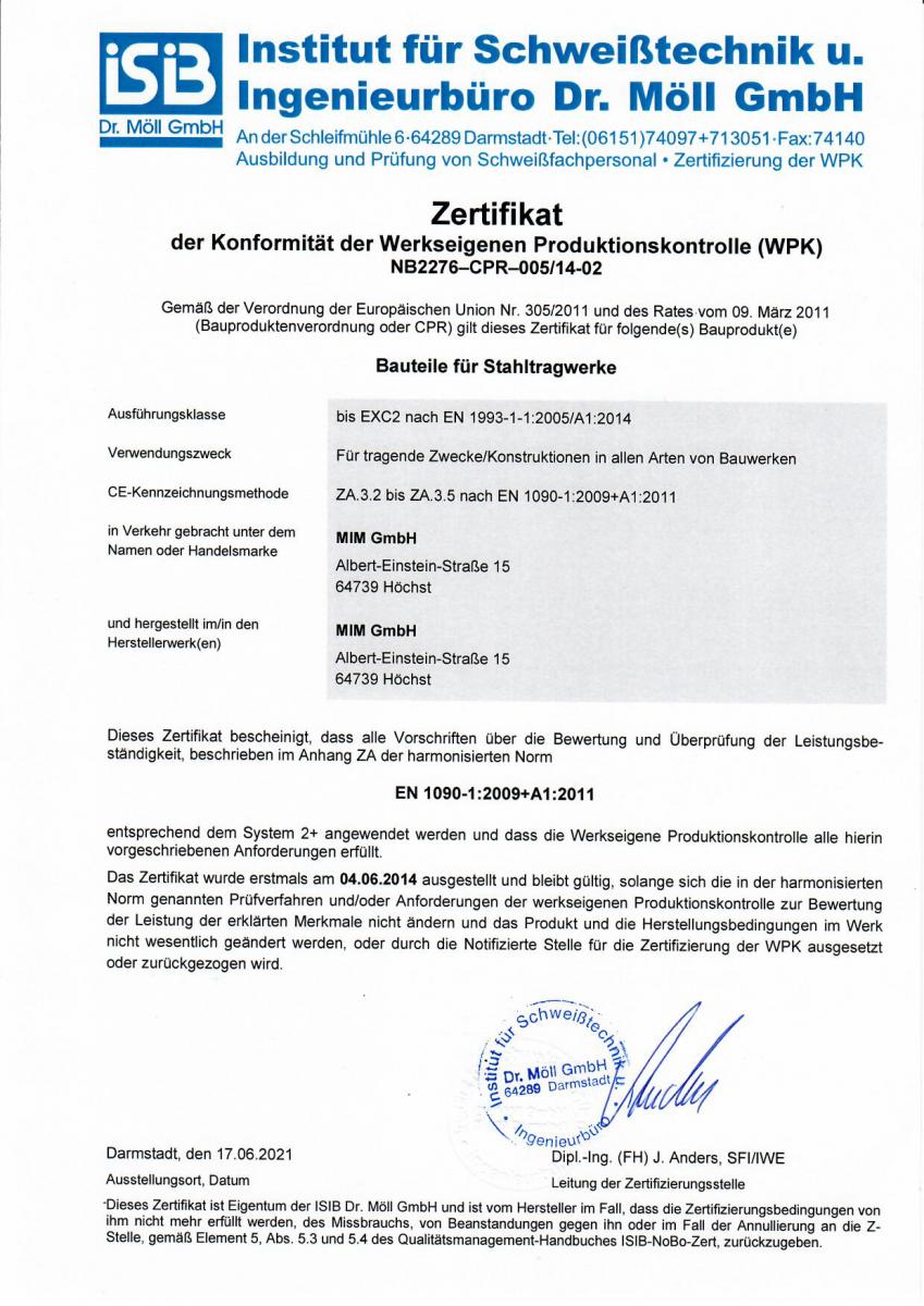 Zertifikat-Bauteile-fuer-Stahltragwerke